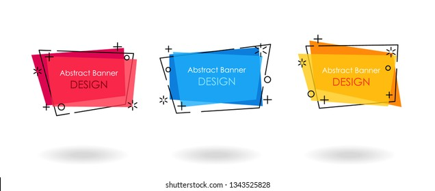 Abstract vector banner sticker set, flat geometric style. For use in brochure covers, mobile app interface. Promotion poster background