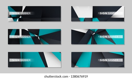 Abstract vector banners with geometric backgrounds gradient green black and white
