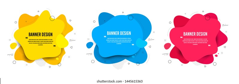 Abstract vector banners. Geometric liquid forms. Template bagdes. Modern design. Dynamic fluid banners shapes. Minimal curvy design. Various colors modern template. Text with quotes. Vector shapes