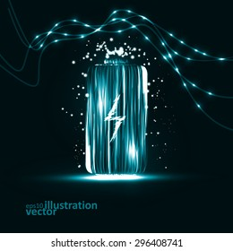 Abstract vector Battery. Creative dynamic element, light lines Illustrations.