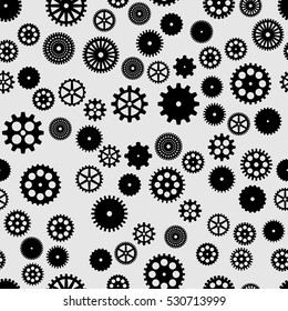 abstract vector black flat gears seamless pattern on gray background