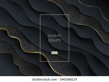 Abstract vector black and gold background. Fluid wavy layered shape with golden edge and glitter halftone. Vector illustration. Design for promo, cover, poster, flyer and etc.