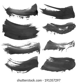 Abstract vector black paint smears