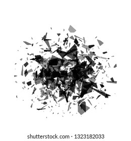 Abstract vector black triangular shards on white background. Scatter falling dark gray triangle particles. Exploding effect