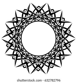 Abstract vector black and white illustration round beautiful frame. Decorative vintage ethnic mandala pattern. Design element for tattoo or logo.