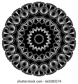 Abstract vector black and white illustration round beautiful ornament. Decorative vintage ethnic mandala pattern. Design element for tattoo or logo.
