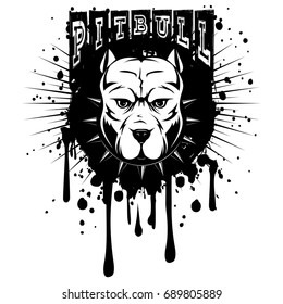 Abstract vector black and white illustration portrait of fighting dogs on grunge background and inscription pitbull. Head of dog breed pit bull in collar with spikes.