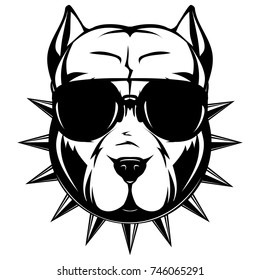 Abstract vector black and white illustration portrait of fighting dogs. Head of dog breed pit bull in sunglasses and collar with spikes.