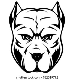 Abstract vector black and white illustration portrait of fighting dogs. Head of dog breed pit bull.