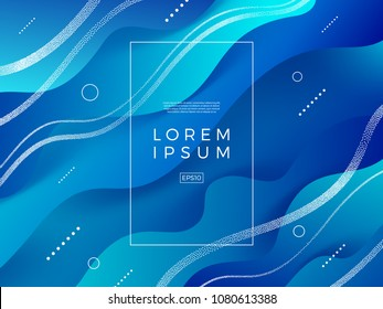 Abstract vector blue background. Composition with fluid  shape, stipple waves and frame for text or message.