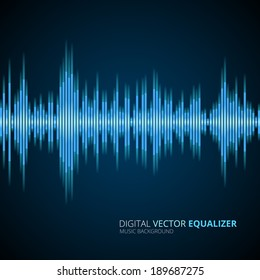 Abstract vector blue  equalizer background