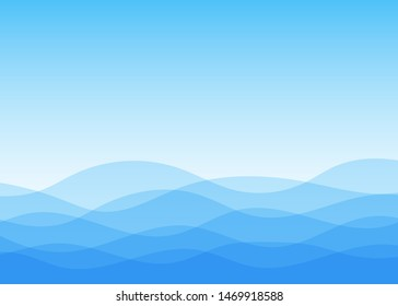 Abstract vector blue lines wave layer shape zigzag concept background flat design style illustration.