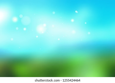 Abstract vector blurred background. Defocused green nature backdrop. Fresh ecology background, design concept.