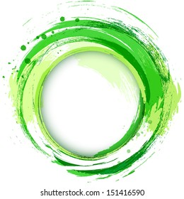 Abstract vector bright painting design element. Green smudges whirlpool.