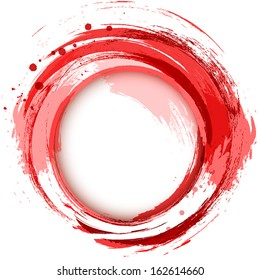 Abstract vector bright painting design element. Red smudges whirlpool.
