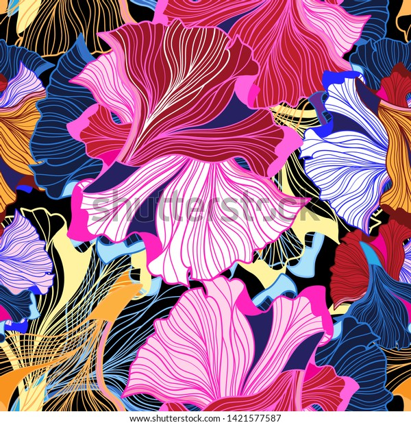 Abstract vector bright pattern seamless fiction on a blue background.