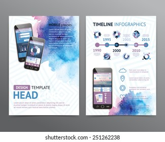 Abstract  vector brochure template with watercolor backgrounds. Flyer layout. Flat style. Infographic elements.