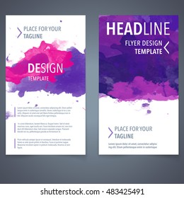 Abstract vector brochure watercolor template. Flyer layout design elements.