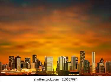 abstract vector brown sunset background with panorama of vancouver