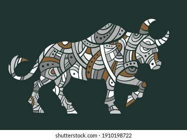Abstract vector buffalos. Vector. Neutral colors