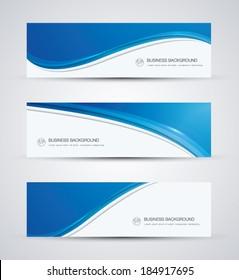 Abstrakter Vektorhintergrund Banner mit schöner blauer Welle