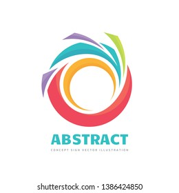 Abstract - vector business logo concept illustration. Colored ring with shapes. Positive geometric sign in optimism style. Design element.