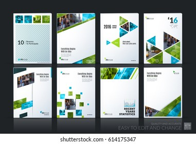 Abstract vector business template. Brochure layout, cover modern design annual report, poster, A4 flyer with green squares, triangles, diagonal geometric shapes, lines with texture background.