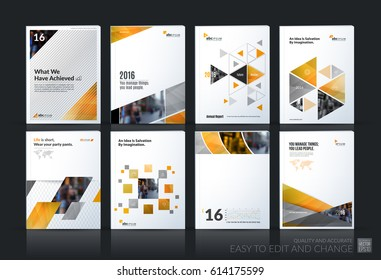Abstract vector business template. Brochure layout, cover modern design annual report, poster, A4 flyer with yellow squares, triangles, diagonal geometric shapes, lines with texture background.