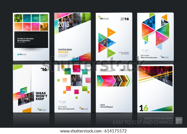 Abstract vector business template. Brochure layout, cover modern design annual report, poster, A4 flyer with colourful squares, triangles, diagonal geometric shapes, lines with texture background.
