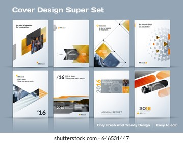 Abstract vector business template set. Brochure layout, cover modern design annual report, poster, A4 flyer with yellow squares, triangles, diagonal geometric shapes lines with texture background.