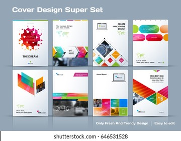 Abstract vector business template set. Brochure layout, cover modern design annual report, poster, A4 flyer with colourful squares, triangles, diagonal geometric shapes lines with texture background.