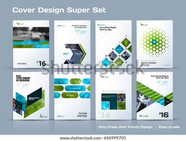Abstract vector business template set. Brochure layout, cover modern design annual report, poster, A4 flyer with green squares, triangles, diagonal geometric shapes lines with texture background.