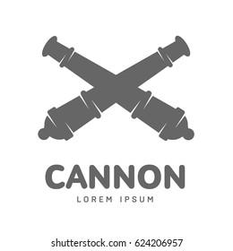 Abstract vector cannon label and logo template. Artillery symbol. Silhouettes of medieval guns. Template for business card, poster, banner, design elements. Isolated on white background.