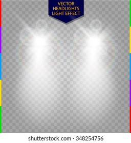Abstract vector car front headlight white light effect. Blur glow light with lens flare on transparent background