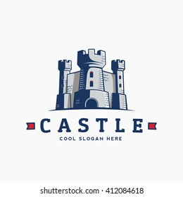 Abstract Vector Castle Label, Sign or Logo Template. Fortress Symbol. Kingdom Icon. Tower Silhouette with Flags and Typography. Isolated.
