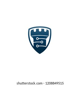 abstract Vector castle tower shield logo icon. Vector castle logo combination. security technology symbol. Unique simple fortress logo design template.