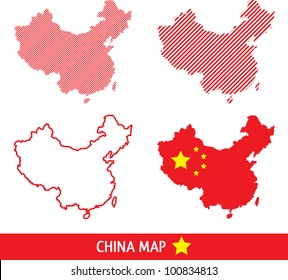 Abstract Vector China Map in dashed lines. 4 Designs.