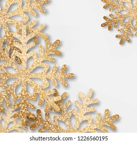 Abstract vector Christmas background with golden snowflakes