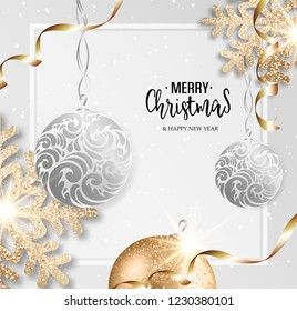 Abstract vector Christmas greeting card with silver snowflakes and event balls