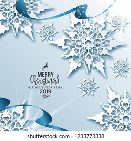 Abstract vector Christmas greeting card with ribbons and 3dd snowflakes