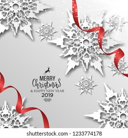 Abstract vector Christmas greeting card with red ribbons and 3dd snowflakes