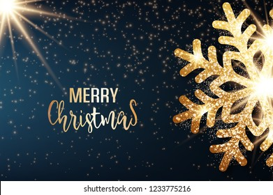 Abstract vector Christmas greeting card with golden snowflake and bright stars