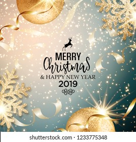 Abstract vector Christmas greeting card with golden snowflakes and event balls