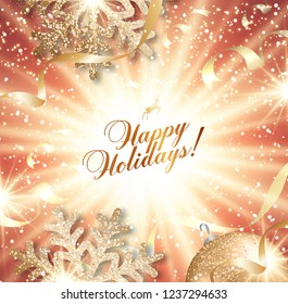Abstract vector Christmas greeting card with golden snowflakes and event ball