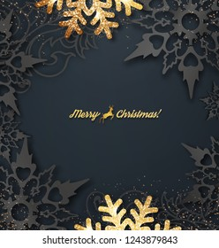 Abstract vector Christmas greeting card with golden snowflakes