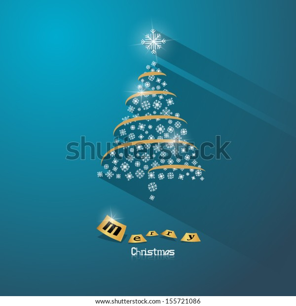 Abstract Vector Christmas Tree on Blue Background