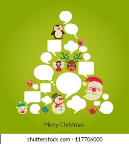 abstract vector Christmas tree with speech bubbles