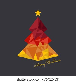 Abstract vector christmas tree triangle card design template. Christmas tree greeting card background.