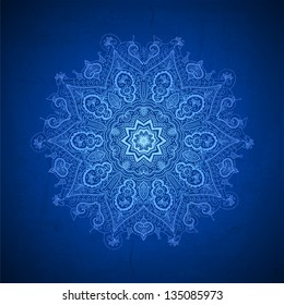 Abstract vector circle floral ornamental border. Lace pattern design. White ornament on blue background. Vector ornamental border frame. Can be used for banner, web design, wedding cards and others