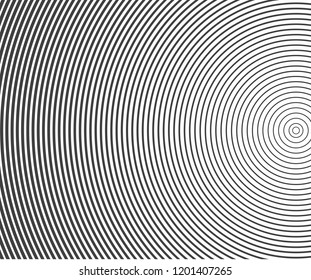 Abstract vector circle halftone black background. Gradient retro line pattern design. Monochrome graphic.